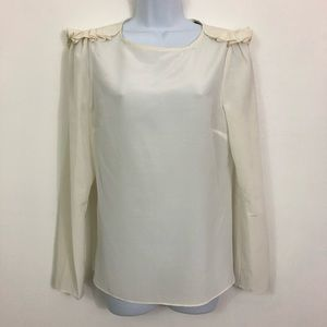Marc By Marc Jacobs Silk Ruffled Shoulder Blouse